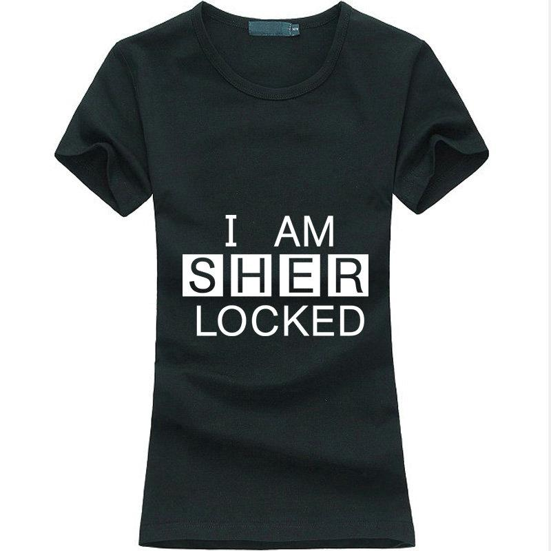 Casual Tee Am Women Sher Hot Sherlock Angel T I Grunge Cotton Femme Print Shirt Funny Holmes Locked O0w8mvNn