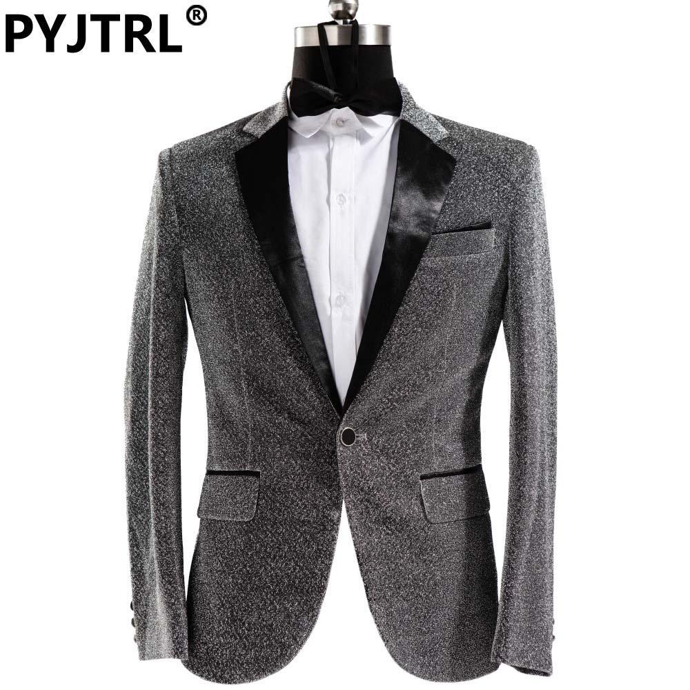 f31d3e20d4d Wholesale- Jacket + Pants Male Dress Singer Host Men Slim Fit Shiny ...