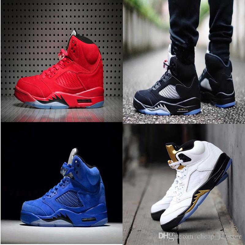 outlet for cheap free shipping best prices 2018 mens Cheap 5 5s V Olympic metallic Gold White Cement Man Shoes OG Black Metallic red blue Suede Sport Sneakers sale with mastercard sale discount gCw8W