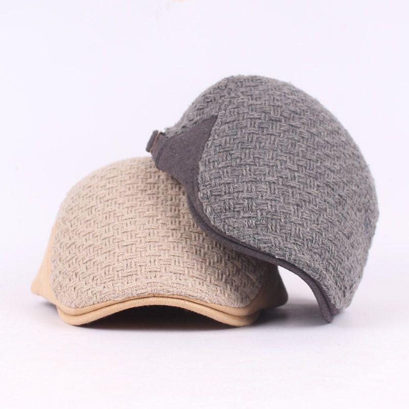 c879df05833e7 Wholesale- Woolen Visor Hat Beret Men s Hats Forward Autumn And ...