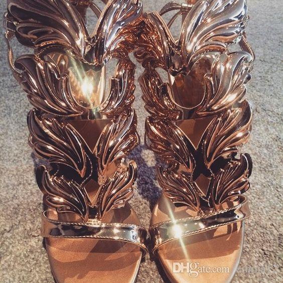 2017 Sexy Bling strass Angle Wings tacchi alti sandali donna in pelle splendente oro placcato sandali gladiatore alato donne