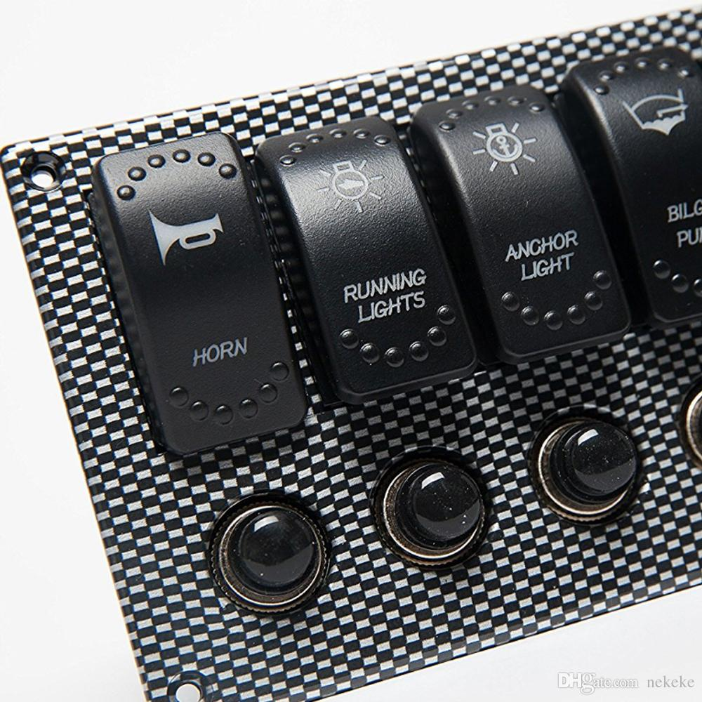 6 Gang Laser 2 LED Gravé Rocker Disjoncteur étanche Marine Bateau Rv Panneau d'impression Commutateur