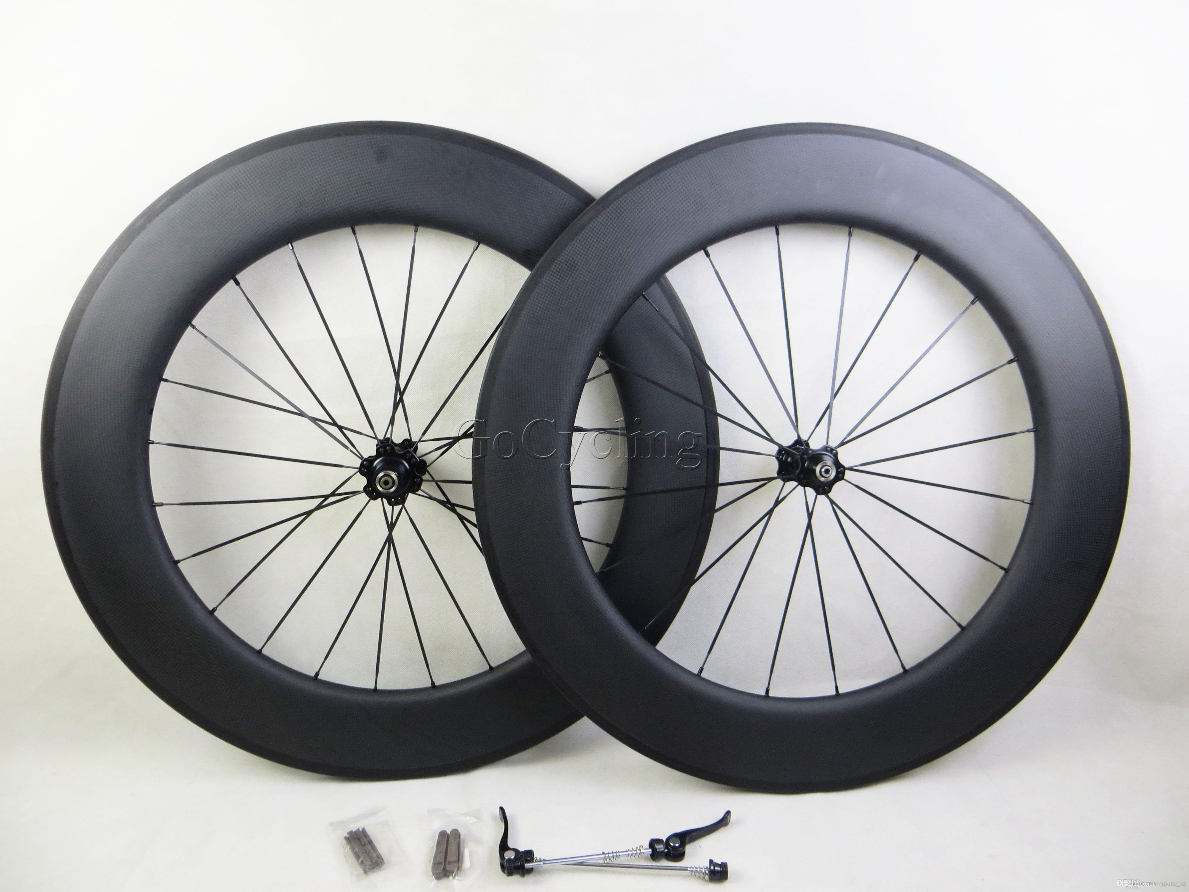 Carbon bicycle wheels 90mm 3K matt no decals sticker basalt brake surface clincher tubular road cycling bike wheelset with novatec hubs