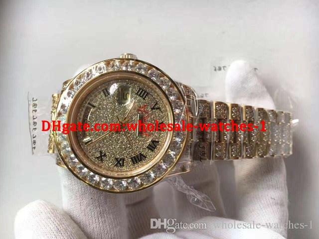 New arrive free gift box New Mens Day-Date II 18k 40MM President 228238 Yellow Gold Diamond Watch
