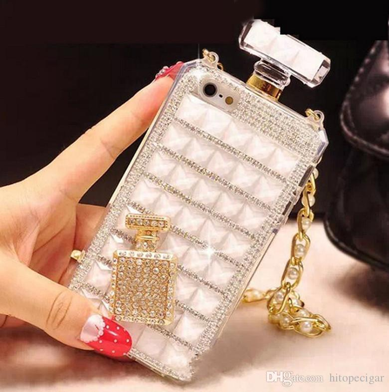 Luxury Bling Diamond Crystal Perfume Bottle Chain DIY Handbag Case for iPhone 6 7 8plus x XR XS Max 11 11 Pro Max Samsung S10 Note 10