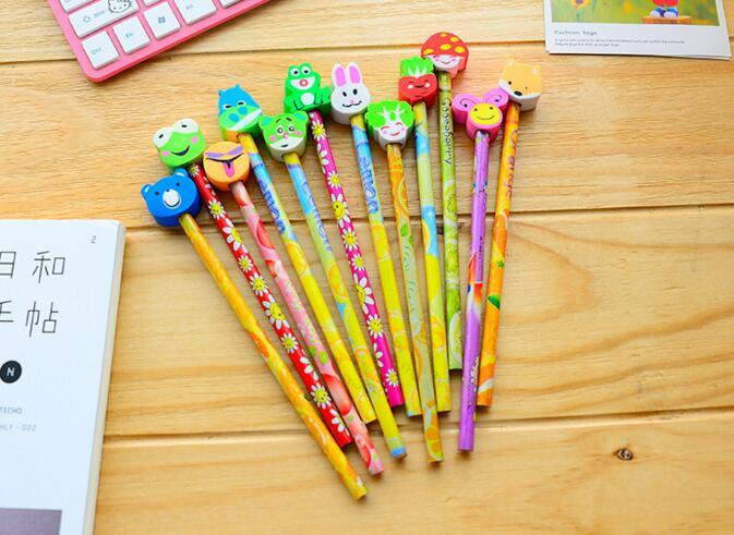 school office supplies korean stationery set cute cartoons wooden pencils with erasers for students kids gifts writing supplies