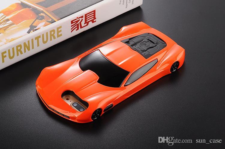 Роскошные 3D мультфильм милый спортивный автомобиль гоночный ПК чехол для iPhone 5 5S 5SE 5G 6S 7 плюс PC жесткий пластик с подставкой держатель крышка телефона
