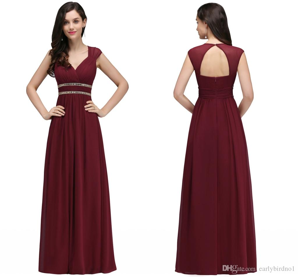 Maroon Wedding Gown: Burgundy New Designer Bridesmaid Dresses Long Cap Sleeves