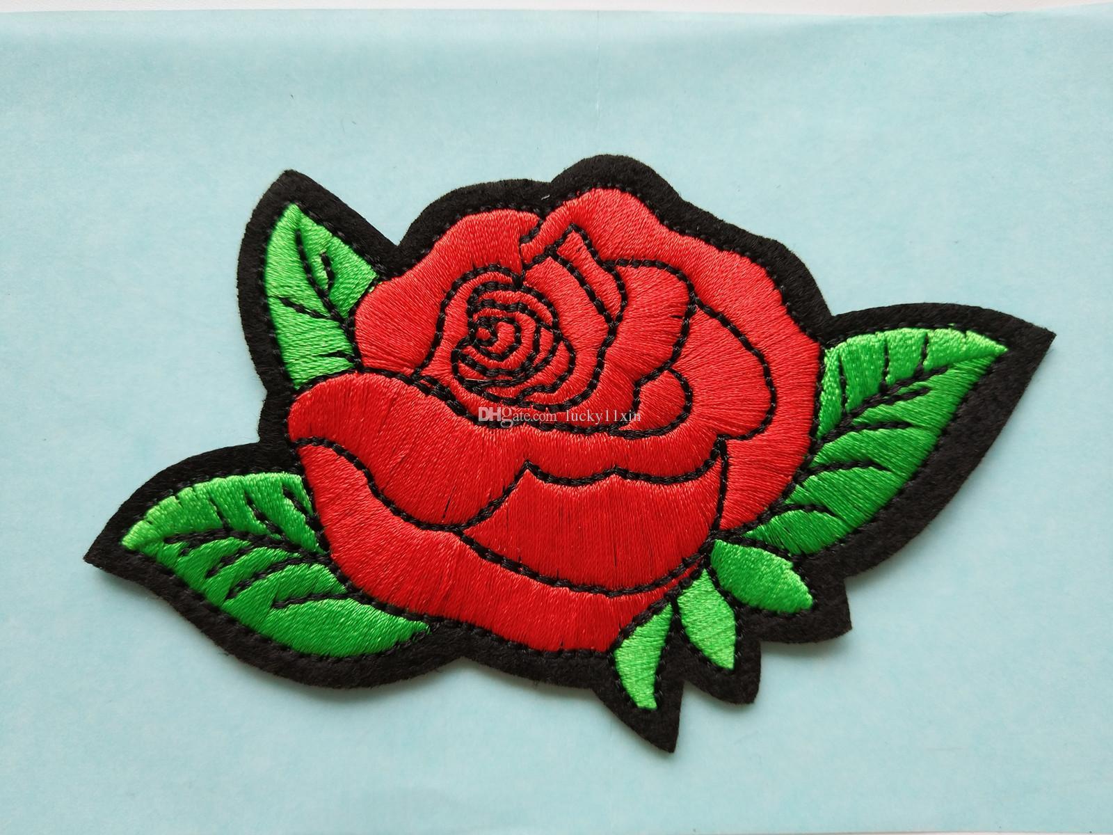 Compre Flores Bonitos Folha De Rosa Vermelha Ferro Em Patch Bordado