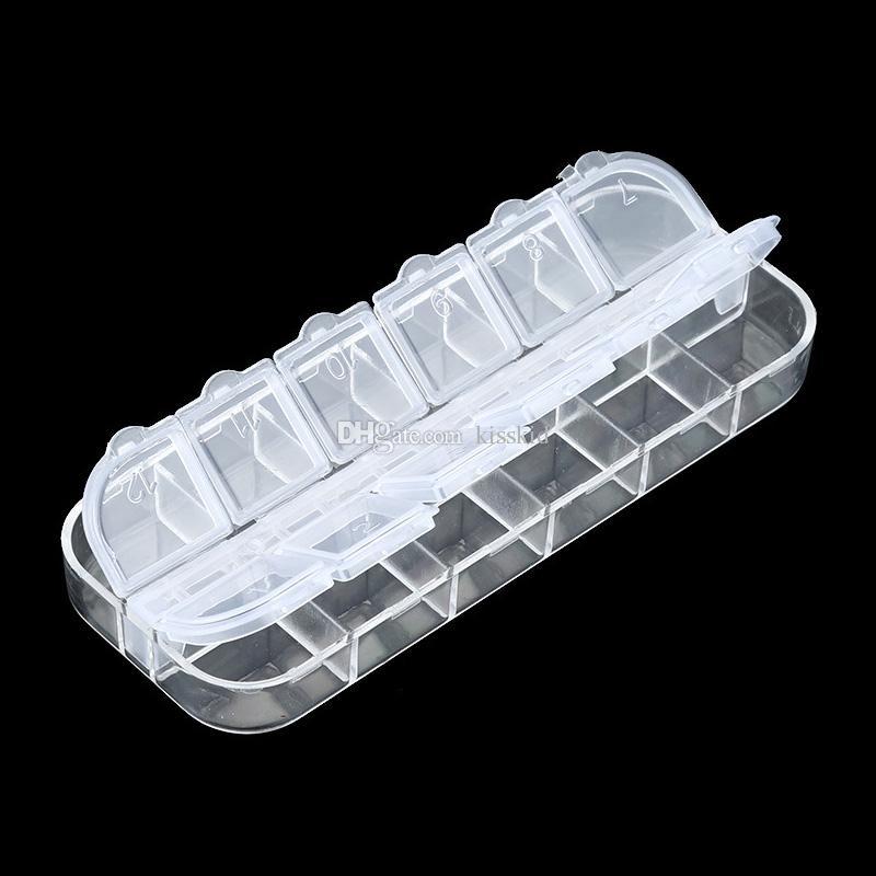 20 stks Plastic 12 Compartiment Box Nail Art Glitter Rhinestone Bead lege opbergdozen