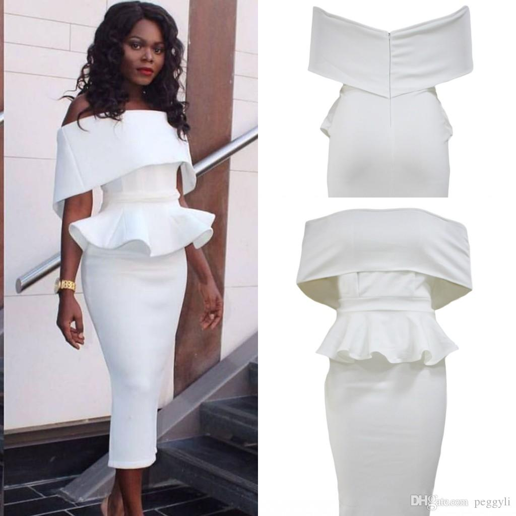 2017 White Off Shoulder Bodycon Peplum Dress 2017 Modest Sexy ...