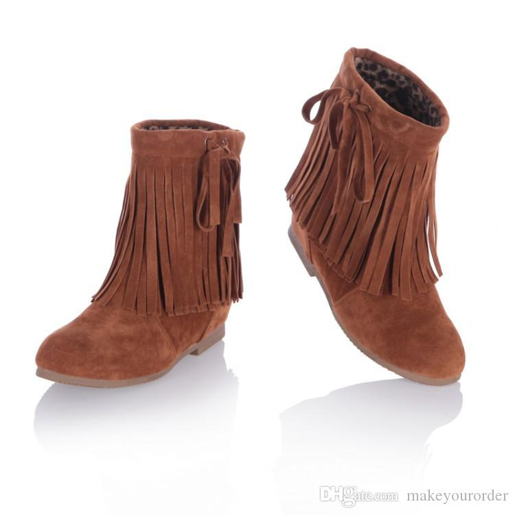 wholesaler factory price hot seller new style Half Boots tassels martin height increase fashion ankle boot women 094