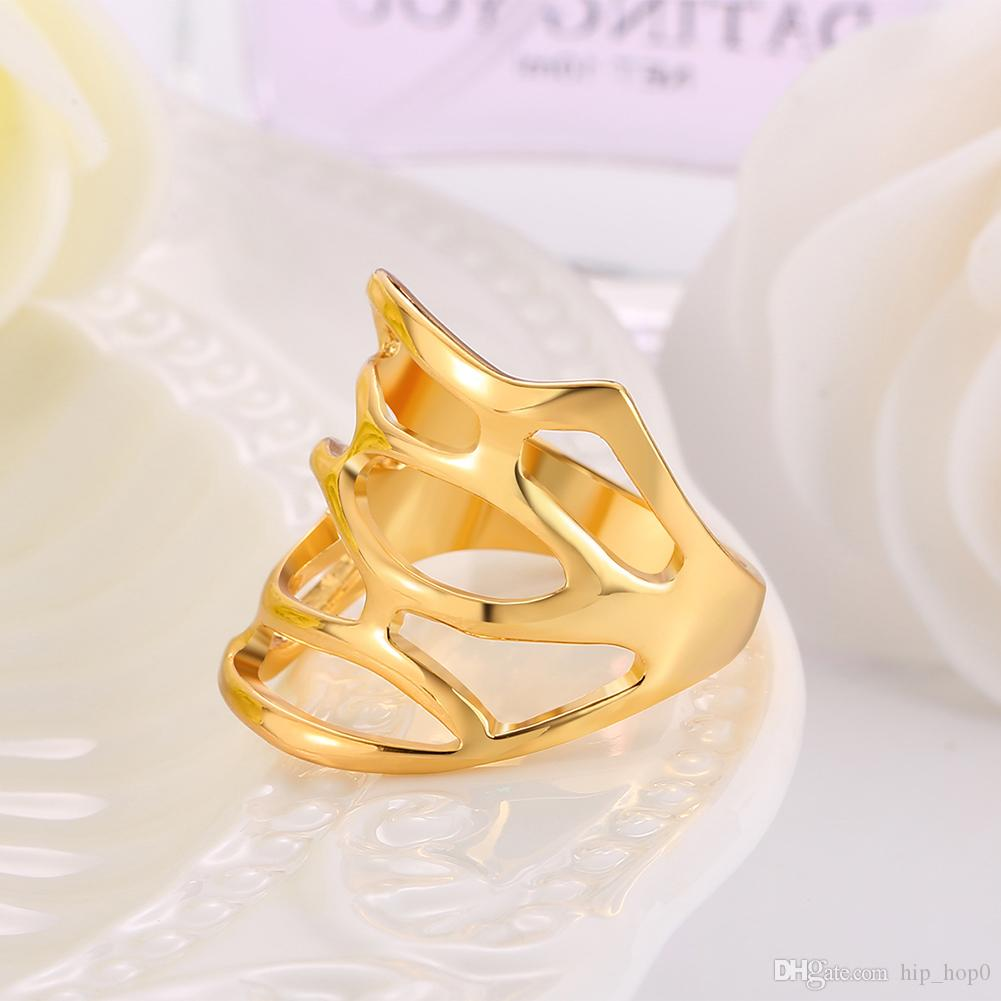 Green Jewelry 18k Real Gold Plated Statement Ring Women Party Fashion Geometric Ring Trendy Brand Jewelry Best Friend Christmas Gifts