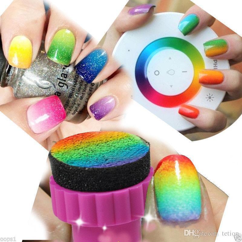 Wholesale Cute Nail Art Sponge Stamp Gradient Color Stamping Polish