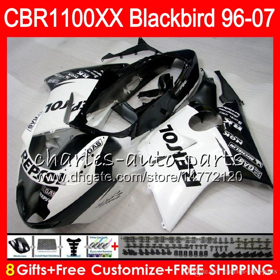 Body For HONDA Blackbird CBR1100 XX CBR1100XX 96 97 98 99 00 01 81NO31 CBR 1100 XX 1100XX 1996 1997 1998 1999 2000 2001 Repsol black Fairing