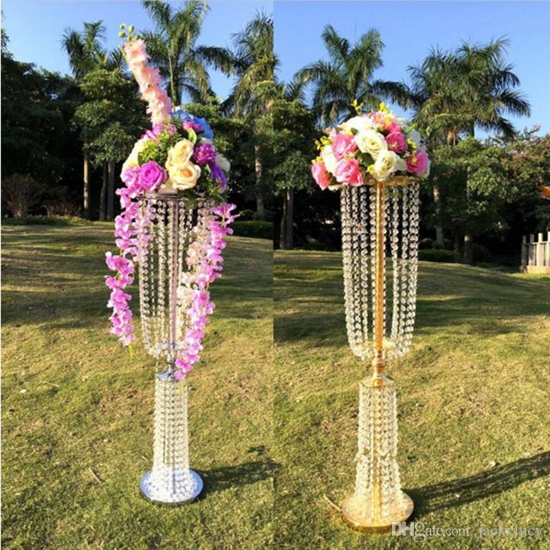 100cm Tall Acrylic Crystal Wedding Centerpiece Road Lead Stand Dinner Party Table Decoration Candlestick Kids Supply Decorations From