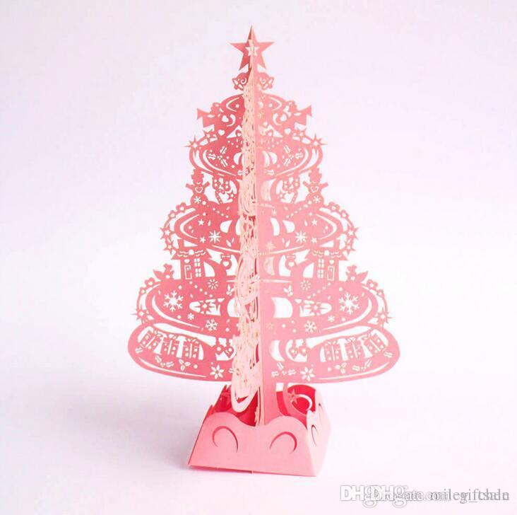 Christmas Tree Gifts 3D Laser Cut Pop Up Cards Handmade Decoration ...
