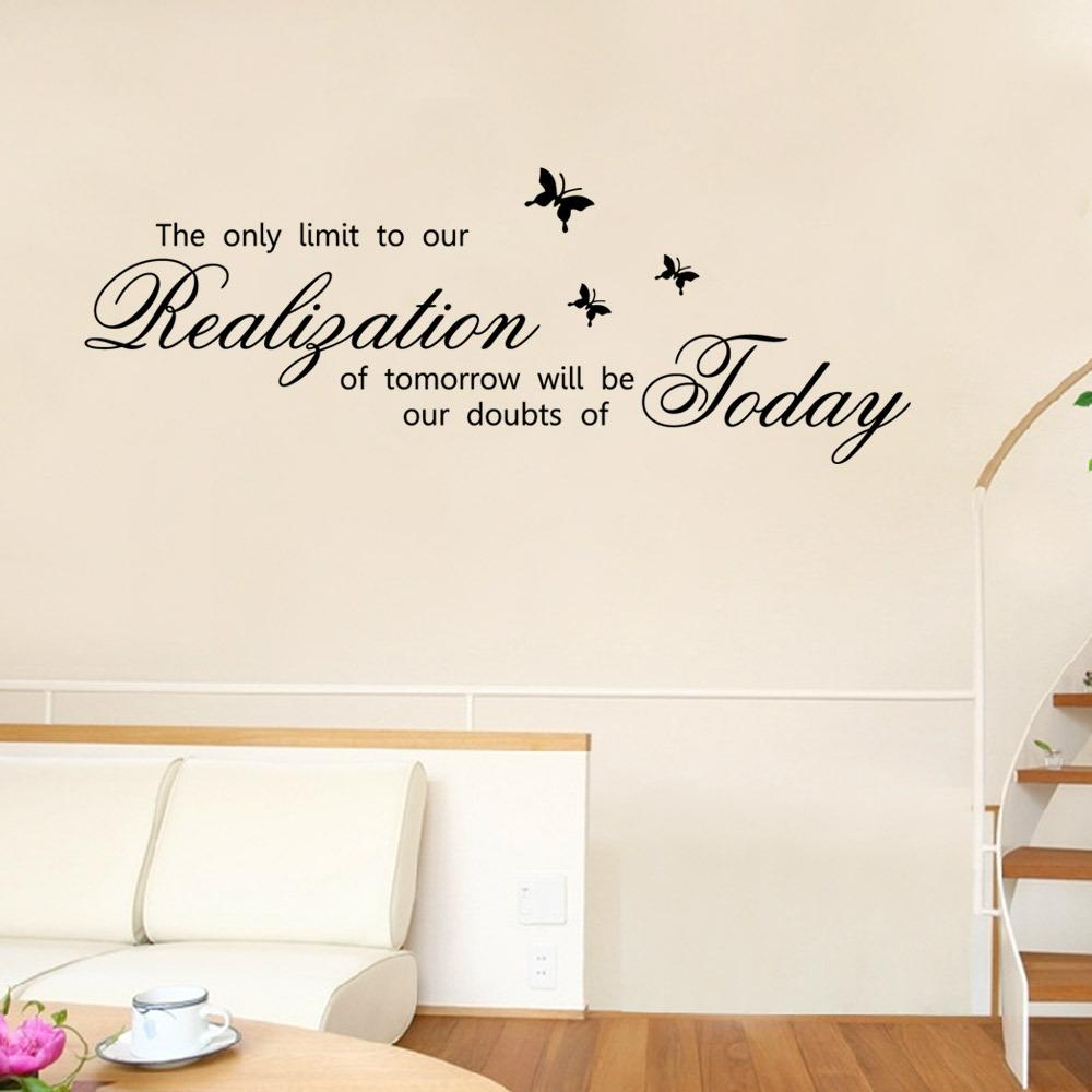 Aw9280 The Only Limit To Our Realigation Quote Vinyl Wall Decal Butterfly Wall Sticker Inspirational Stickers For Family Home Decor