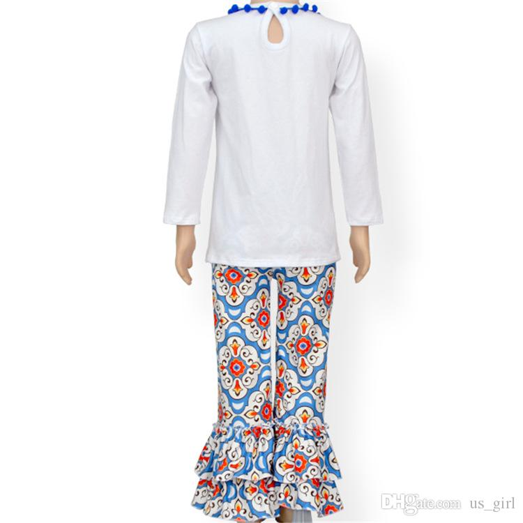 NOEL Bebek Erkek Kız Şükran Bodysuit Uzun Kollu kızlar beyaz Tops + Uzun Pantolon Şapka Handband 2 ADET Kıyafetler Set Çocuk Giyim Seti Kış