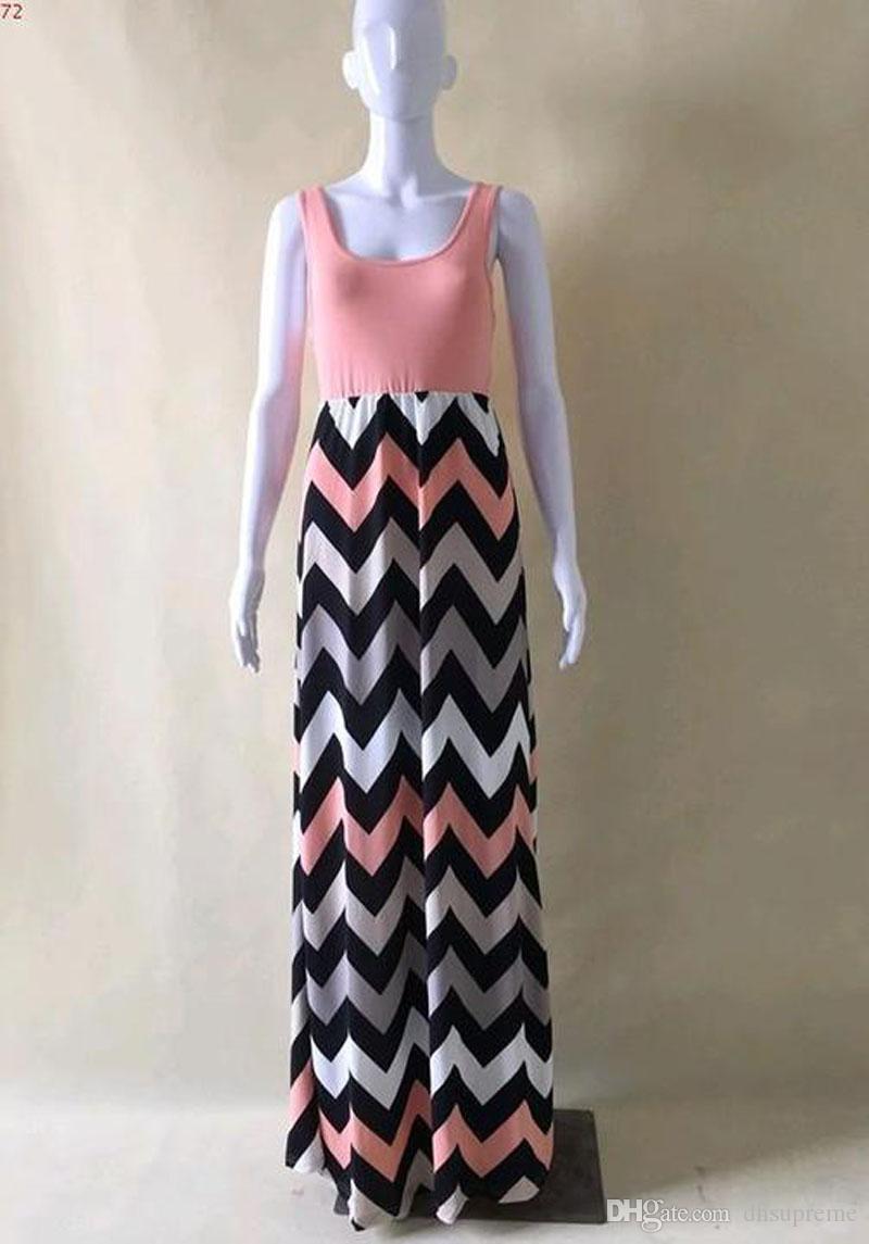 Vendita calda Estate Moda donna abito in cotone Boho a righe Long Maxi Dress Casual senza maniche O-Neck Dress Plus Size Beach Style