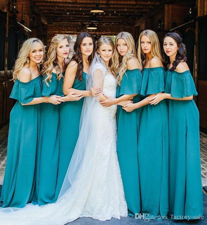 Aqua en mousseline de soie élégantes robes de demoiselle d'honneur pour l'été Boho mariages hors épaules plis longue fête mariage invité demoiselles d'honneur robes