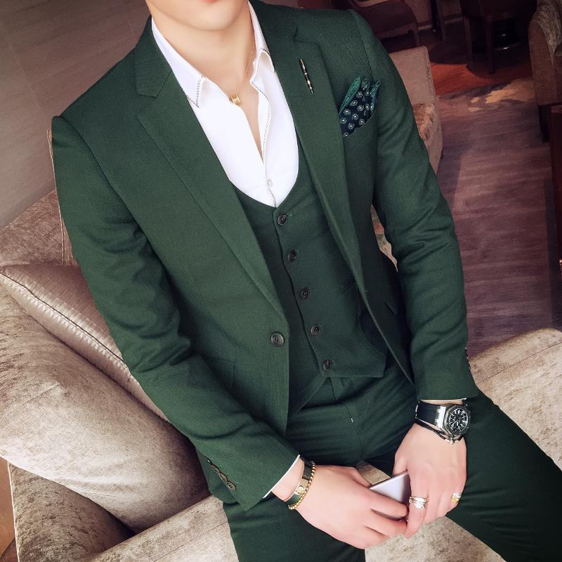 2017 Wholesale 2017 Green Tuxedo Jackets Mens Suits Slim Fit Sets ...