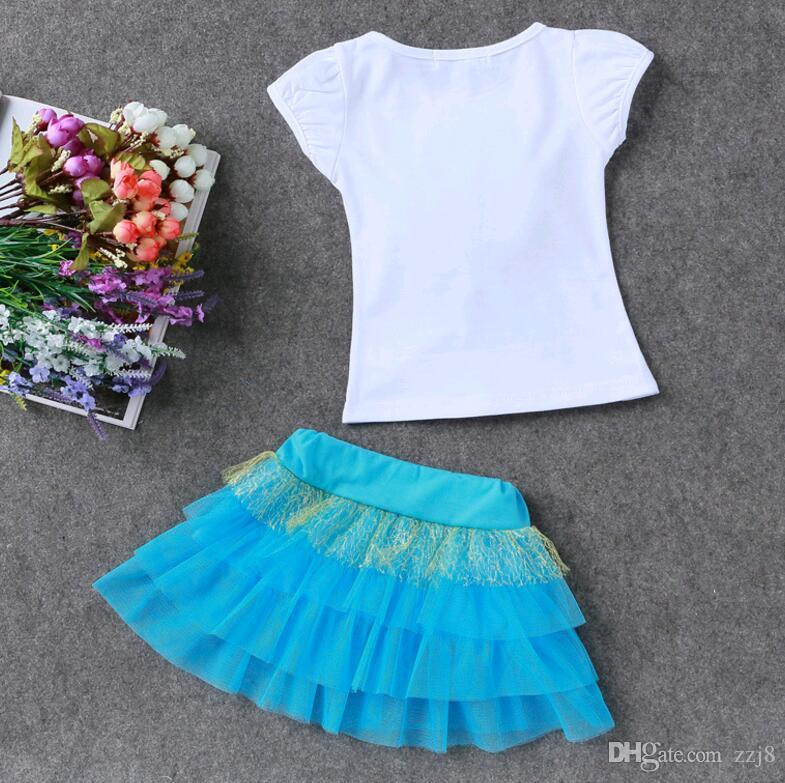 New Summer Kids Clothing Sets Flower T Shirt + tutu Mesh Skirt Suits for Girl Red Pink Green