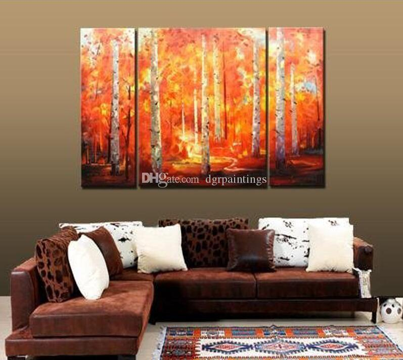 Framed 3 Panel Beautiful Landscape Canvas Oil Painting Set 100% Handpainted Home Living Room Decor Pictures Wall Art ML18