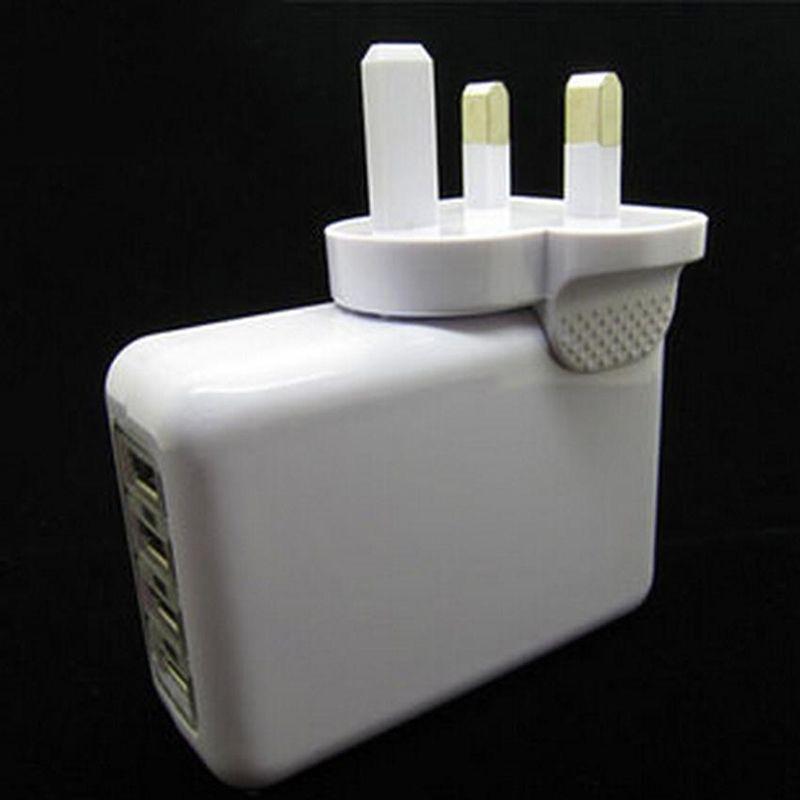 EU AU US UK Stecker 4 Port USB Ladegerät 2.1A 10 Watt Tragbare Reise Ladegerät Netzteil für Iphone Ipad Samsung HTC