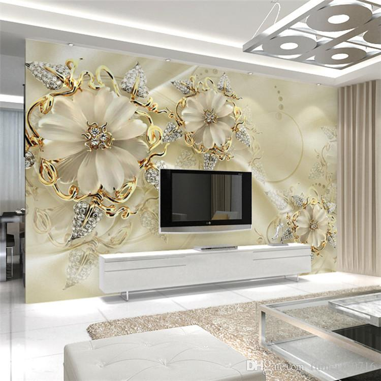 Wall panel wallpaper marble diamond jewelry rose for Wall hanging designs for living room