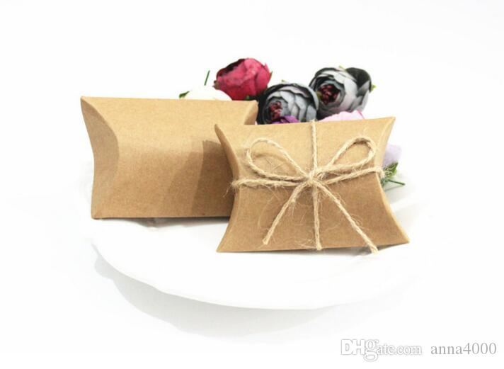 Fashion Hot Cute Kraft Paper Pillow Gift Box Wedding Party Favor Gift Candy Boxes Paper Gift Bags