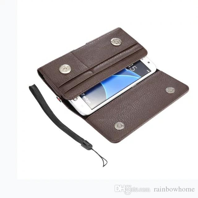 Men's Casual Vintage Waist Bag Mobile Phone Case Multi-function Magnetic Buckle Pouch with Card Holder+Hand strap 4.0''-6.3''