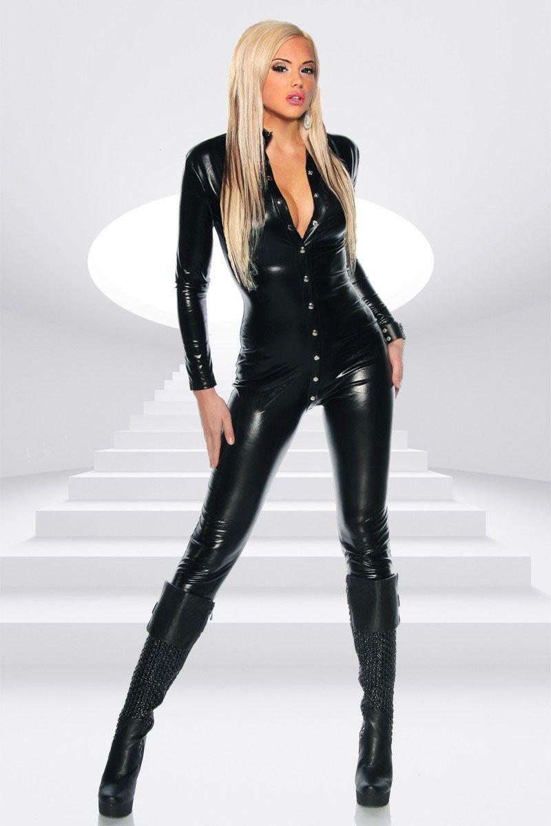 Unique Black Sexy Catsuit Rivet Buckle Long Jumpsuit Ladies Tight-fitting Bodysuit Playsuit Catwoman Outfit Dancing Wear