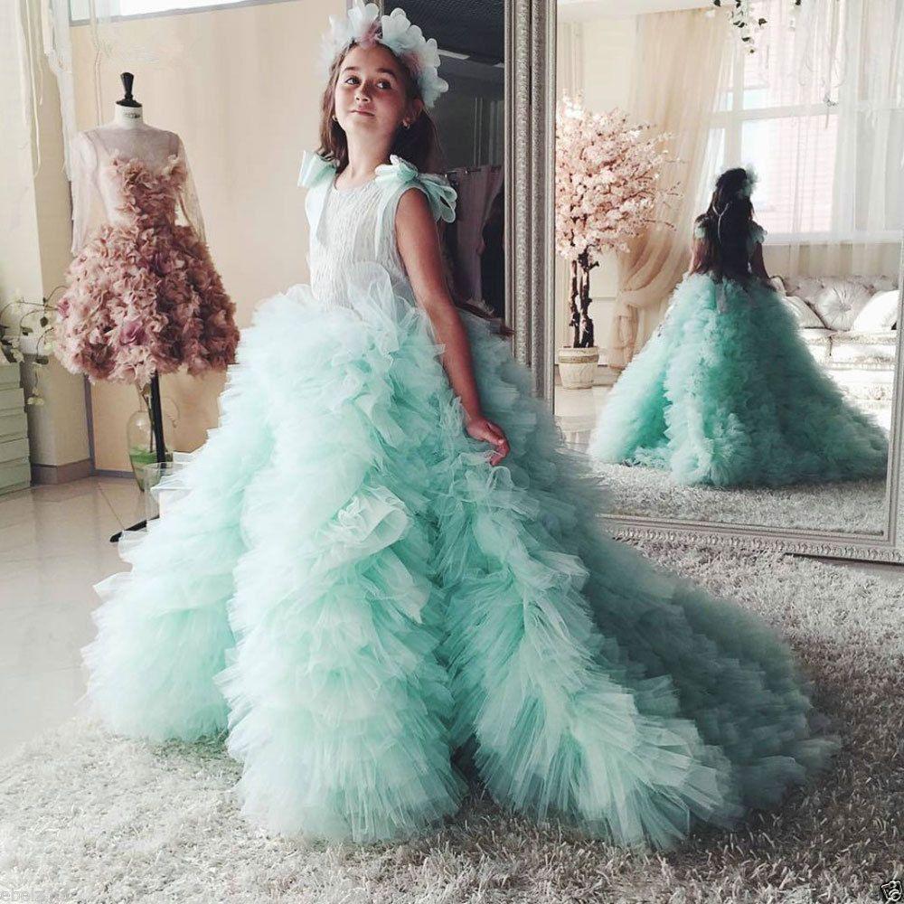 Tulle Mint Green Ball Gown Flower Girls\' Dress New Handmade Ruffle ...