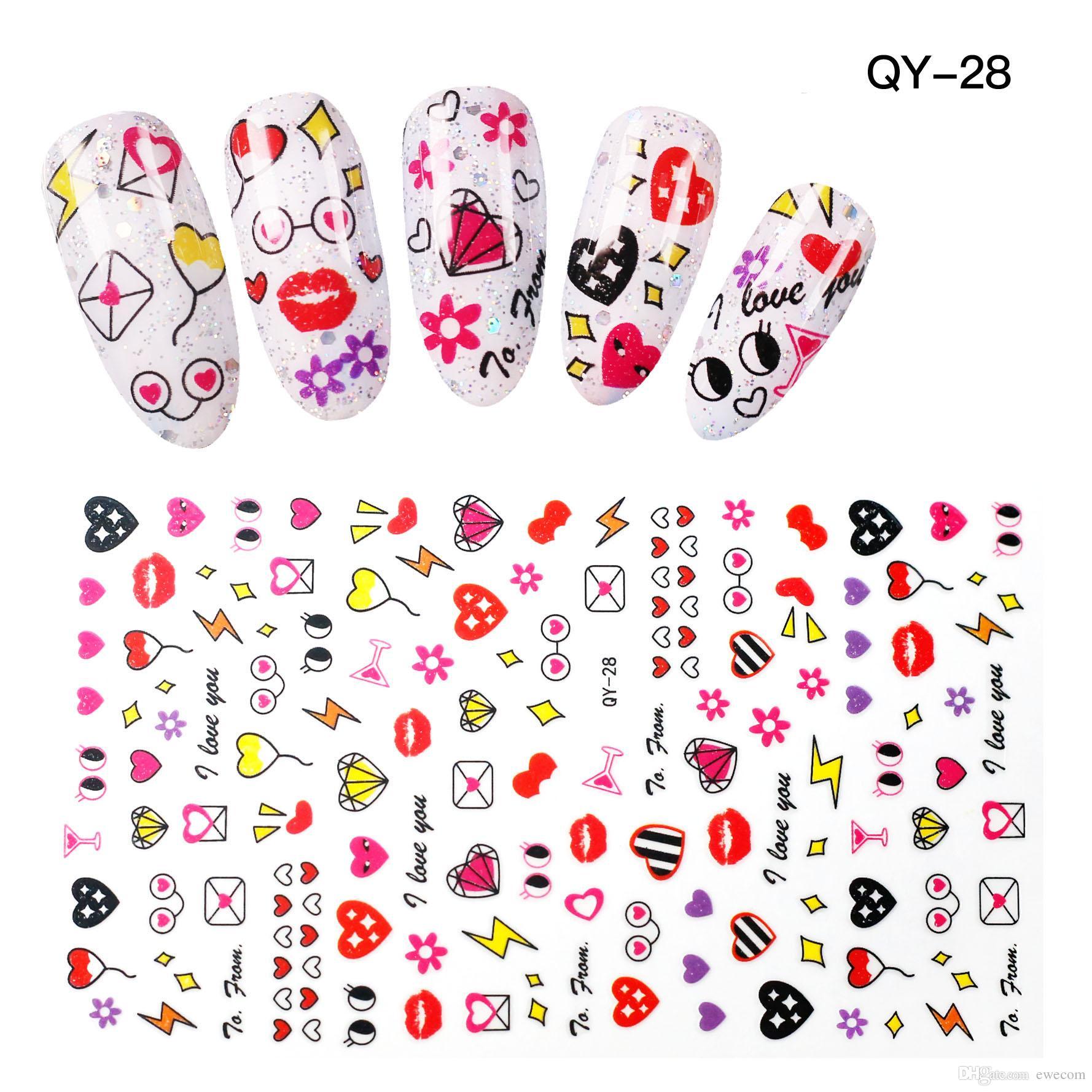 High Quality Cute Heart Nail Art Stickers Decals Nail Eye Design ...