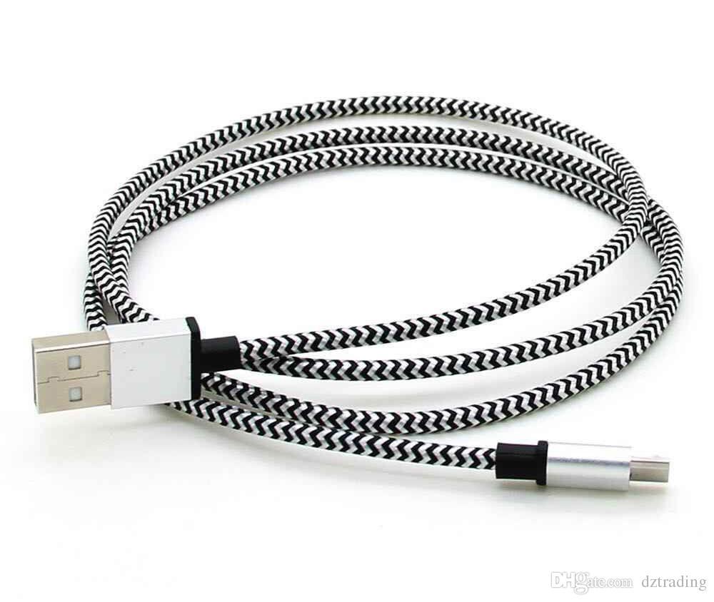 1 M 2 M 3 M Dalga Örgülü Alüminyum Mikro USB Kablosu Kumaş Naylon Veri Sync Transferi Çelik Şarj Adaptörü Kablosu Samsung S8 S7 HTC cep telefonu için