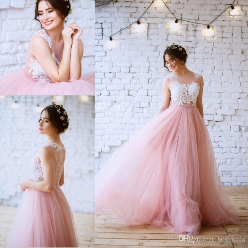 Discount 2017 New Blush Pink Bohemian Wedding Dresses Illusion Neck