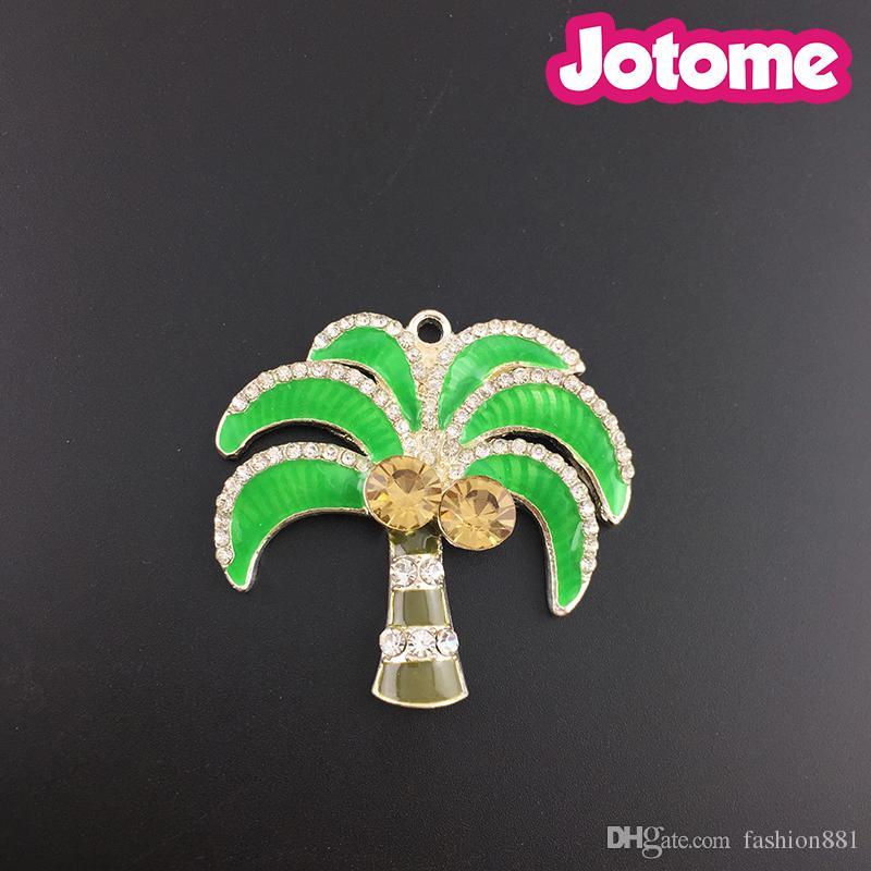 Spilla a forma di albero di palma da cocco verde, pendente a forma di palma con strass smaltato - Collane grandi - 42 x 45 mm