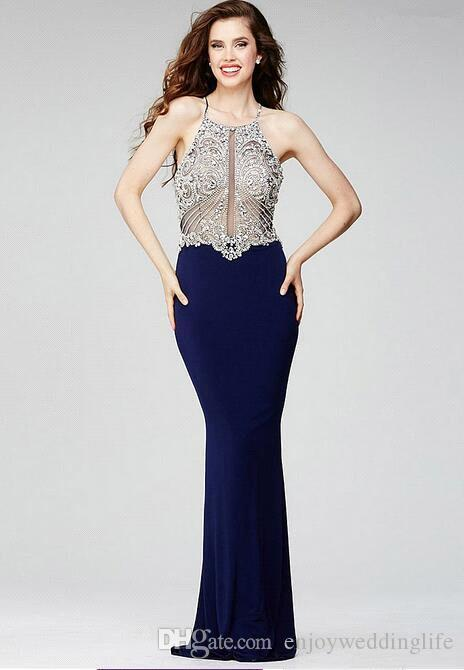 Sparkly Bling Dark Navy Full Crystal Rhinestones Beaded Top Mermaid Prom Dresses 2017 New Sexy Backless Illusion Bodices Evening Gowns