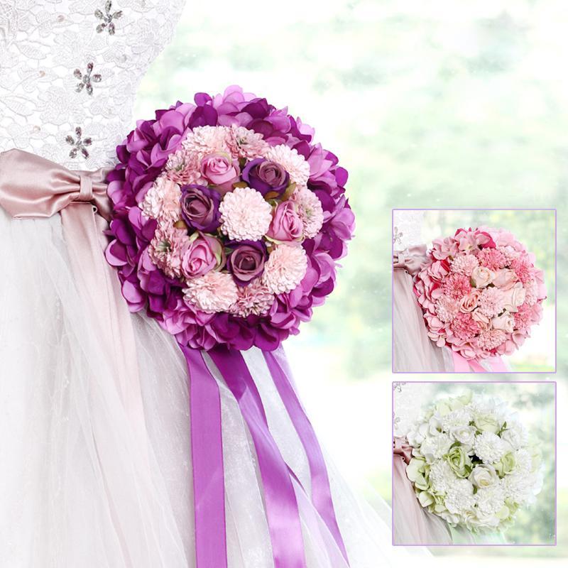 Grosshandel 2017 Rosa Lila Grun Hochzeit Bouquet Handgemachte
