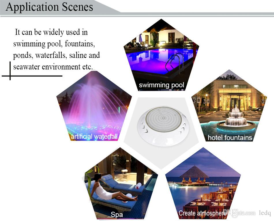 Resin Filled LED Pools Lamp RGB Light Color 18W 42W IP68 Waterproof Wall Mount or Embeded Swimming Pool Fountain Lights Par56 Lighting FCC