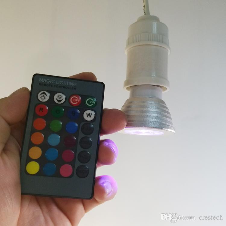3W RGB LED Luces de bulbo 16 Cambio de color AC85-265V E27 GU10 E14 GU5.3 DC / AC12V MR16 con 24 teclas de control remoto IR