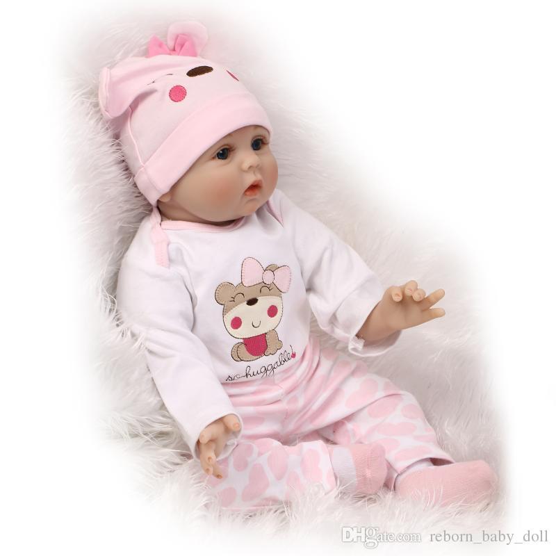Envío gratis 22 pulgadas bebé renacido muñeca niños jugando juguetes realistas de silicona suave vinilo real toque suave