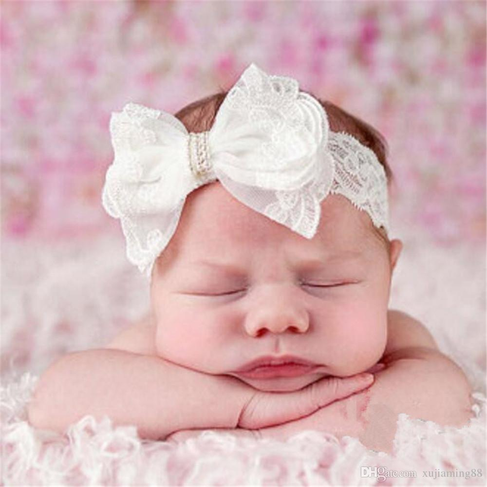 Lace Bow Pearl Infant Baby Headbands White Lace Girl Hairband Headwear Kids Baby Photography Props NewBorn Baby Hair bands Accessories