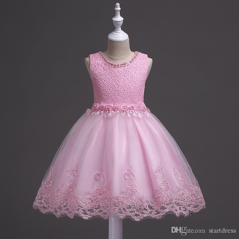 Hızlı Kargo Pembe Mavi Beyaz Çiçek Kız Elbise A Hattı Dantel Peals Kızlar Alayı Elbiseler Çocuklar Communion elbise Bebek ...