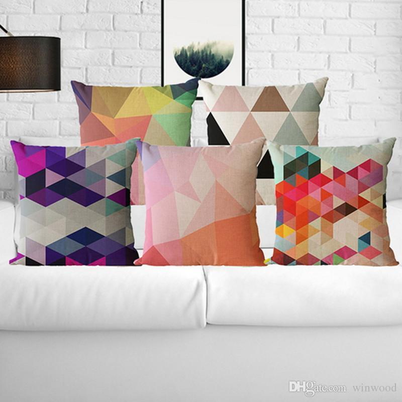 Acheter Géométrique Décoratif Housse De Coussin Canapé Triangles