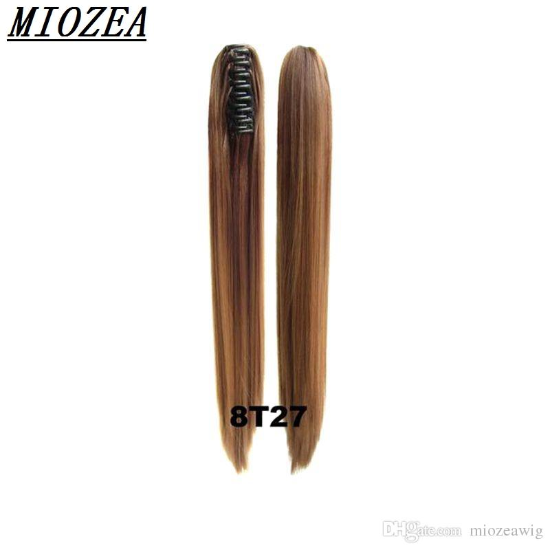 Hair Long Straight Ponytail Synthetic 24incClip On Hair High Temperature Fiber Ponytail Ombre Color multicolor