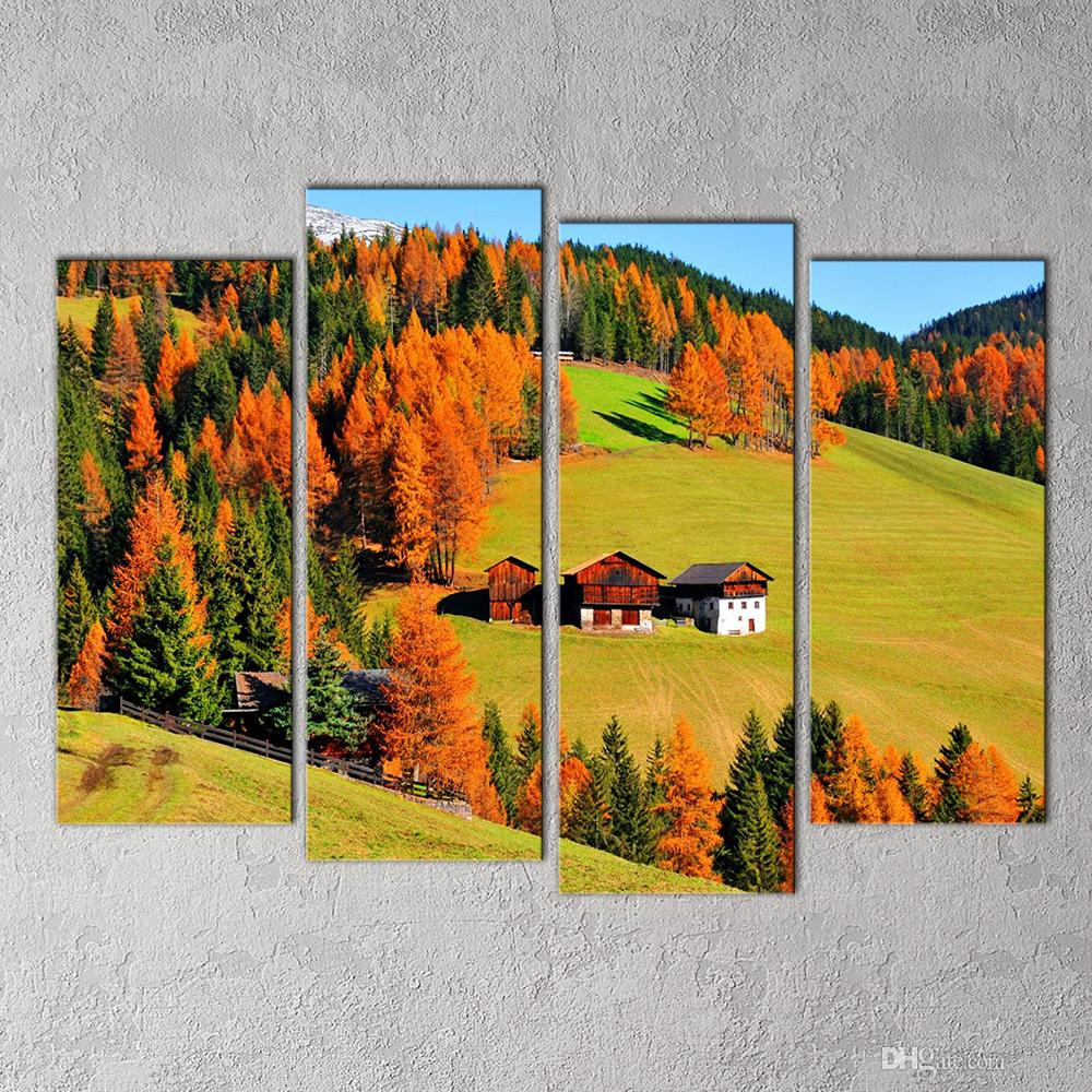 2018 Modern Wall Decor Painting Field Landscape Moutain & Cabin ...