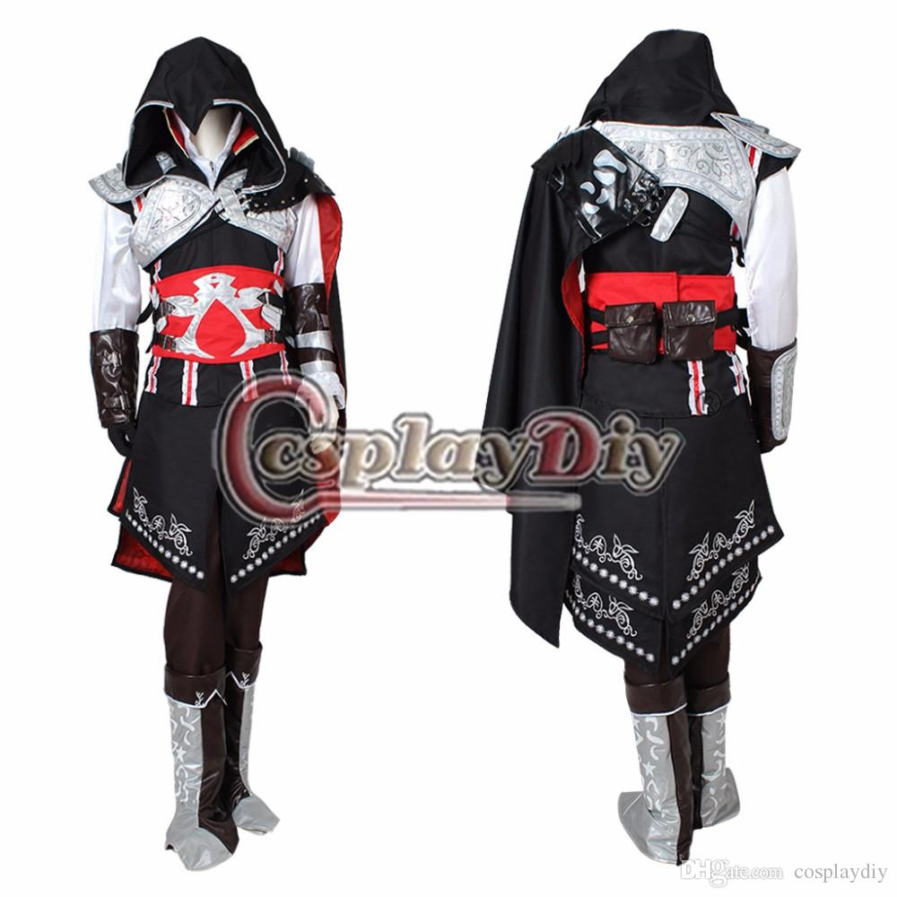 Assassinu0026#39;S Creed Ezio Auditore Da Firenze Cosplay Costume Black Edition Outfit Set For Adult Men ...