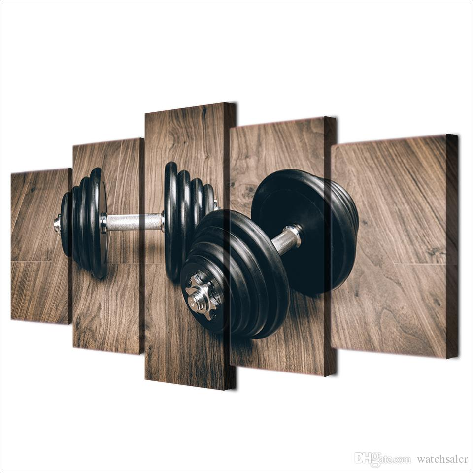 HD Printed Canvas Art Fitness Gym Sports Painting Dumbbells Wall Pictures for Living Room Modern